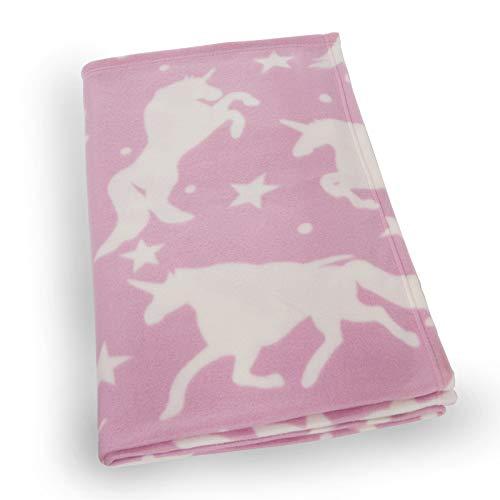 Dreamscene - Manta de Forro Polar (120 x 150 cm), diseño de Unicornio, Color Rosa y Unicornio y Estrellas en Blanco