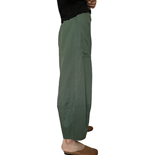 Aeneontrue Damen Leinenhose Loose Freizeit Flachs Kordelzug Hosen Leinen Hose Elastisch Taille Atmungsaktiv Tiefer Schritt Wide-Leg mit Taschen Harem Hosen Pumphose Grün