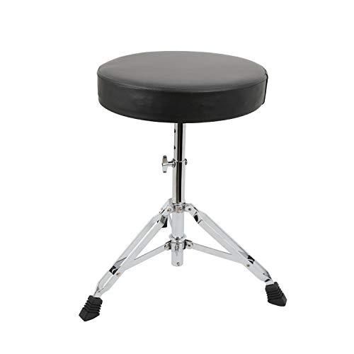 EastRock Drum Hocker Universal Drum Throne, gepolsterter Trommelsitz Drehbarer, höhenverstellbarer Trommelsitz mit rutschfesten Füßen für Erwachsene und Kinder Schwarz (Silber)