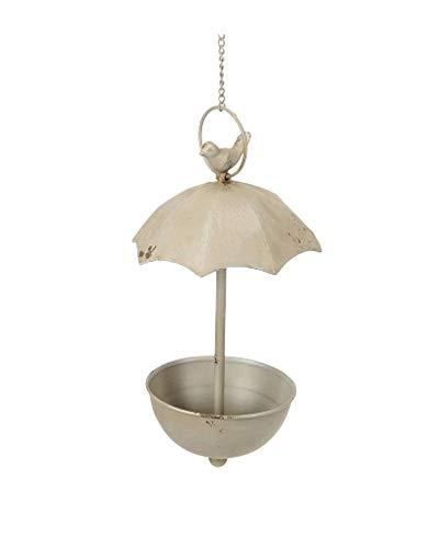 Niedliche Vogeltränke mit Schirm zum Hängen, antikgrau, 19x35cm +37 cm Kette
