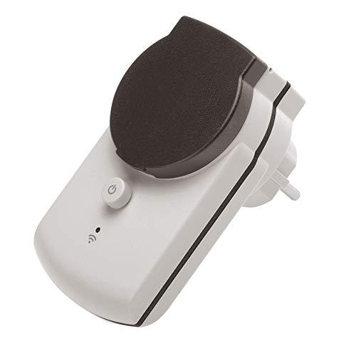 WLAN STECKDOSE G-HOMA Outdoor von 4smile ǀ Funksteckdose WiFi mit App Steuerung ǀ schaltbare Steckdose für Haus Automation mit Kinderschutz ǀ für den Außenbereich ǀ Farbe: grau-schwarz