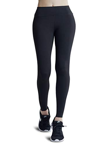 Wirezoll Leggings für Damen, Blinkdicht Lange Leggins Strumpfhose aus Baumwolle, Gr.-S, Schwarz