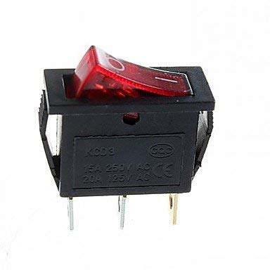 Auidkes Accessory 3-Pin-Plug 2-Step Rocker Switch with Light (15A/250V 20A/125V AC) - (5Pcs) (Color : Red)