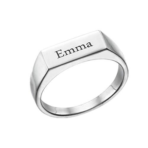 Yanday 925 Sterlingsilber der Männer und der Frauen gravierter Siegelring Namensringgeschenk(Silber 50 (15.9)) (Männer Frauen Und Claddagh-ring)