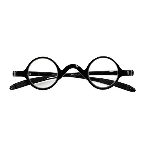 Axclg Reading glasses Klassische Lesebrille, Kleine runde, ovale Vintage-Lesebrille mit Federscharnier, Männer, Frauen, Flexibler Taschenleser (grau, rot, schwarz)