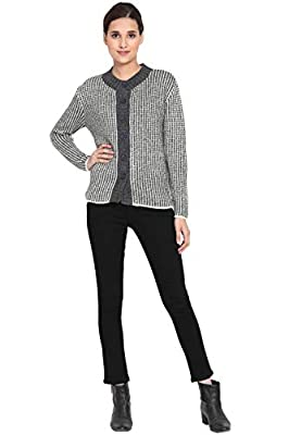 BOXYMOXY Stylish Grey White Mix Sweater Cardigan with Buttons for Girls & Women