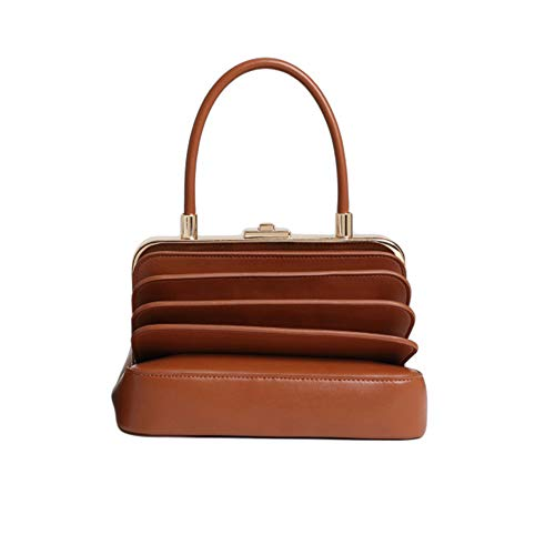 Damen Vintage Streifen Leder Handtaschen Persönlichkeit tragbare Orgel Form kreative Top-Griff Einkaufstasche Laufsteg Zubehör Damen Casual Handtasche Schulter-Handtasche ( Farbe : Braun , Größe : M )