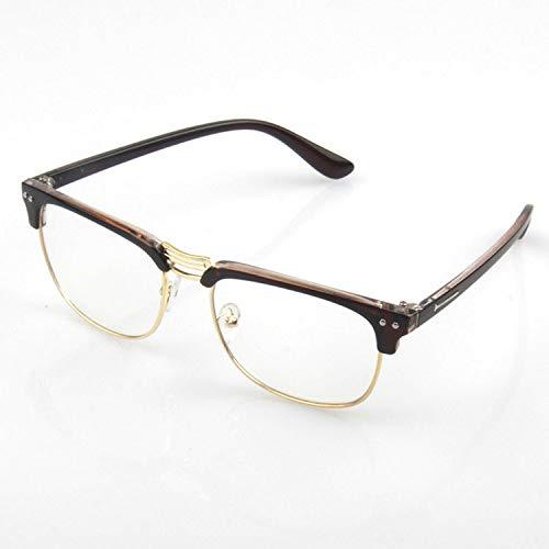 hanxniwm Trendige Brillengestell-Flachgläser aus Metall für Herren- und Damenbrillengestelle