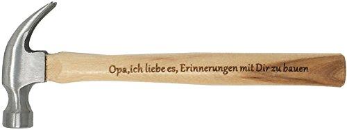 """Opa Geschenke : Gravierter Holzhammer :"""" Opa, ich liebe es, Erinnerungen mit Dir zu bauen"""" -"""" Du bist der Hammer"""" - Besonderes Geburtstagsgeschenk für Opa"""