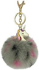 XBY.mi 1*Hellrosa PU Einhorn Zubehör Nachahmung Plüsch Schlüsselanhänger Tasche hängende Anhänger (NO11) Grau