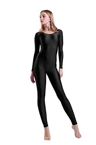Schwarze Spandex Bodysuit Kostüm - Kepblom Damen Langarm U-Ausschnitt Unitard Spandex