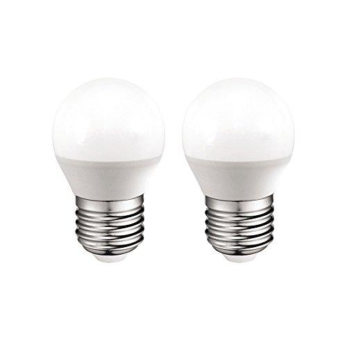 Pack 2x Ampoules sphériques LED E27 6W lumière froide (6000K) 470 Lm.