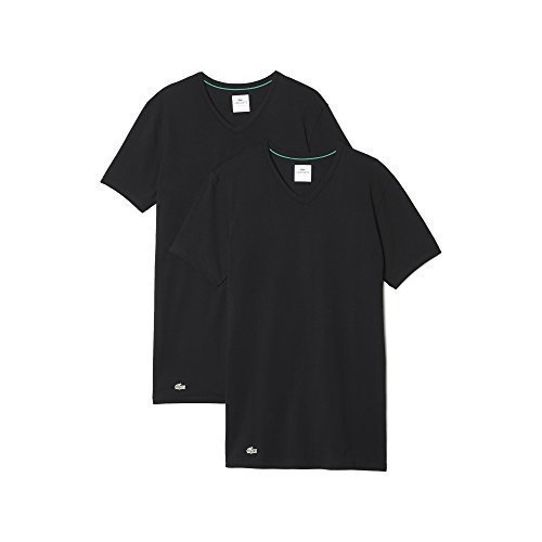 Lacoste Herren T-Shirts Unterhemden V-Neck im 2er Pack 148322 (schwarz/schwarz, S) (V-neck 2 T-shirts Pack)