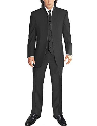 YZHEN Männer 3 Stück Stehkragen Anzüge Weiß Smoking Hochzeit Anzüge