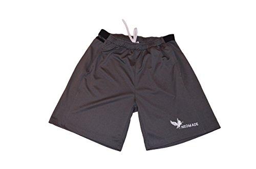 kurze Sporthose Jogging Shorts Herren mit patentierter Handytasche Größe Iphone 5, 6 & SE Sporttasche macht Handy Sport-Armband unnötig (Grey Grau, L + Handy normal) (Form Passende Trainingshose)