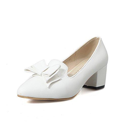 VogueZone009 Femme Couleur Unie Pu Cuir à Talon Correct Fermeture D'Orteil Pointu Tire Chaussures Légeres Blanc