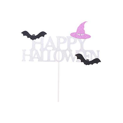 Amosfun Happy Halloween Kuchendeckel Picks DIY Glitter Hexenhut Fledermaus Dessert Obst Insert Card Halloween Party Kuchen Dekorationen 2 STÜCKE (Happy Halloween Glitter)