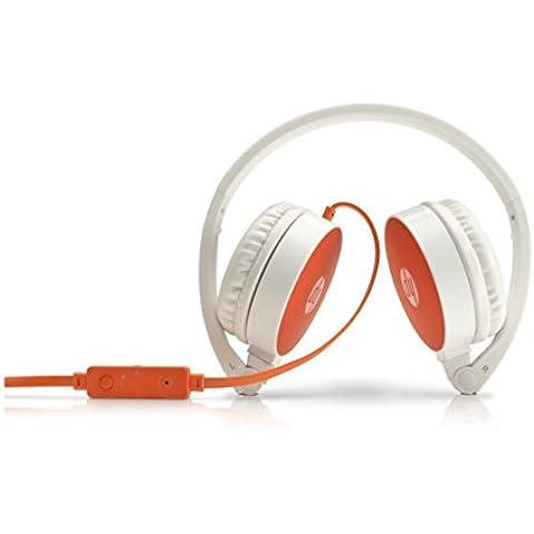 HP H2800 - Auriculares de diadema abierta (con micrófono, control remoto integrado, 3.5 mm), blanco y