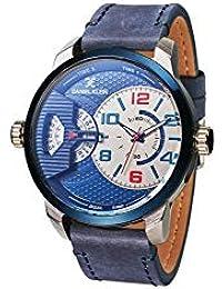 Reloj Daniel Klein Premium para hombre con esfera azul y correa de piel.