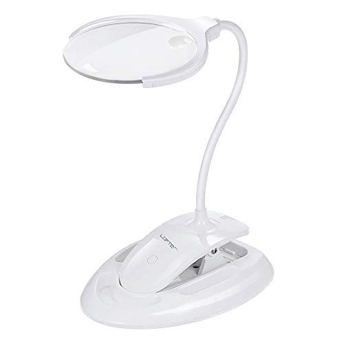 LOFTer LED Lupenleuchte mit Klemme, 8-Fache Lupe mit Licht, 8 Dioptrien LED Lupenlinse Kosmetik LED Tischlupe Leselupe Buchleuchte Lupenlampe Tischleuchte, Dimmbar Augepflege für Hobby und Handwerk