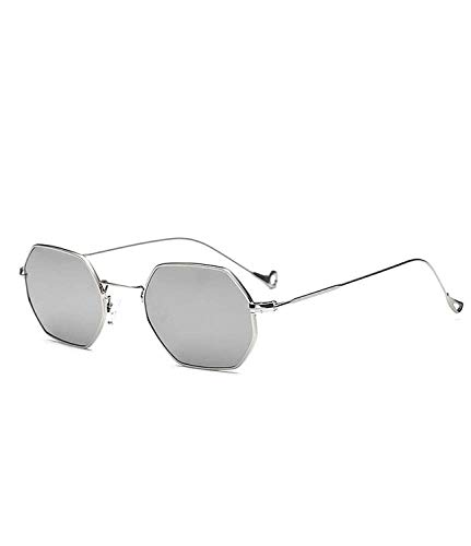 WERERT Sportbrille Sonnenbrillen Retro Sunglasses Women Small Frame Polygon Clear Lens Sunglasses Men Vintage Sun Glasses Hexagon Metal Frame