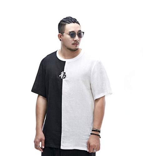 Herren-T-Shirt, chinesisches Retro-T-Shirt, runder Ausschnitt, lose Baumwolle und Leinen, schweißabsorbierend atmungsaktiv (Farbe : A, größe : XXXXL)