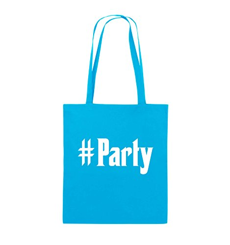 Comedy Bags - #Party - Jutebeutel - lange Henkel - 38x42cm - Farbe: Schwarz / Pink Hellblau / Weiss
