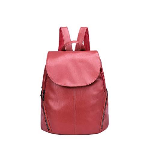 Multi-tasche Reißverschluss (DaQao Mit Klappe Einfarbig Leder Backpack Mode Portable Unisex Daypacks Wasserdicht Reißverschluss Multi-Tasche Reiserucksack)
