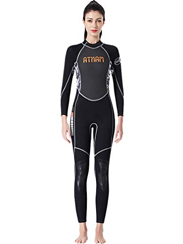 YuanDian Damen 3mm Lang Neoprenanzug Hoch Stretch Warm Tauchanzug Scubapro Surf Schwimmen Triathlon Schnorcheln Wassersport Overall Neopren Decathlon Segeln Wetsuit Schwarz S
