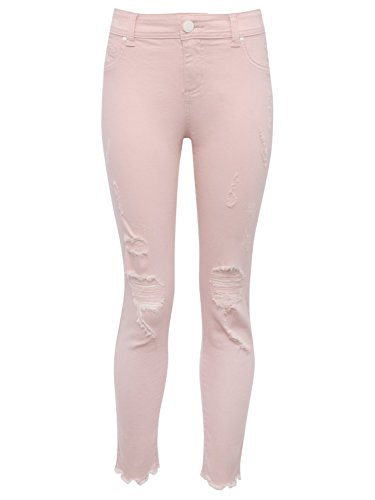 M&Co Teen Girl Cotton Stretch Pastel Coloured Ripped Knee Frayed Hem Skinny Jeans