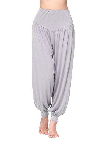 BeautyWill Haremshose Jogginghose Yoga Pilates Hosen Freizeithosen Weiche Modal Hose für Damen Hellgrau Lange