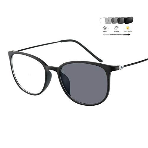 Eyetary Photochrome Lesebrille Männer Frauen Mode Retro Vollrand Brillengestell 1,56 Asphärisches Optische Linse Sonnenleser UV400 Blendschutz (+ 1,00 bis + 6,00 Dioptrien),BlackFrame,+2.25