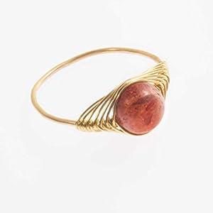 Vergoldeter Edelstein-Ring mit echter roter Schaum-Koralle/alle Größen/besonders aufwändige Handarbeit mit Fischgrätmuster