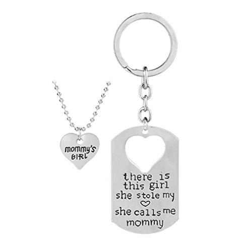 Jixing 2 STÜCKE Mutter Tochter Keychain Halskette Schmuck Set, Geburtstag Halskette Set, es gibt Dieses Mädchen, Das Mein Herz gestohlen hat Sie Ruft Mich Mami