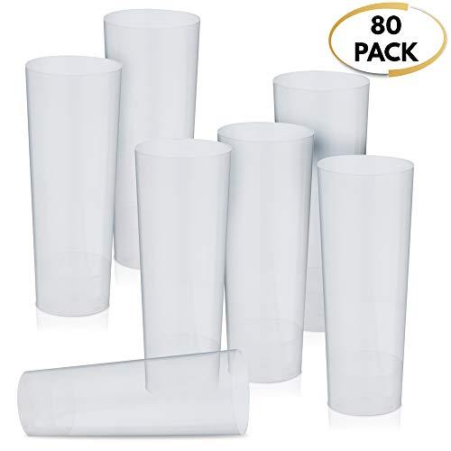 80 Einweg Plastik Longdrink-Gläser, Plastikbecher, Kunststoff Hiball Tumbler, 300ml - Transparent, Haltbar, Unzerbrechlich - Wiederverwendbar, Recyclebar - für Camping, Gartenparties & Picknicks