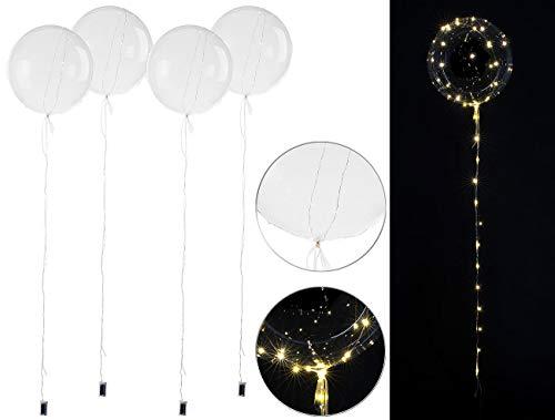 infactory LED Ballon: 4er-Set Luftballons, Lichterkette, 40 weiße LEDs, Ø 30 cm, transparent (Lichter-Ketten)