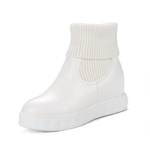 AgooLar Damen Rein Pu Leder Mittler Absatz Ziehen Auf Rund Zehe Stiefel Weiß