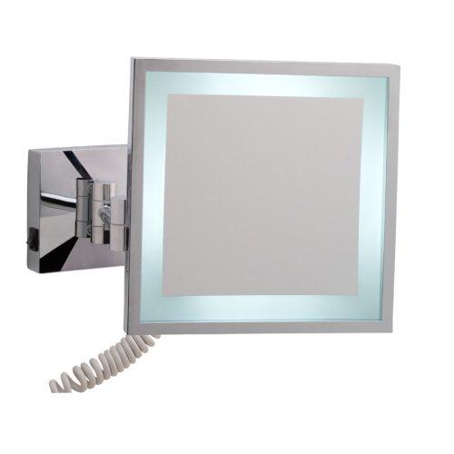 nie wieder bohren MR434 miroo beleuchteter Kosmetikspiegel, 3fach Vergrößerung, Durchmesser 20 cm, verchromt inklusive Befestigungstechnik