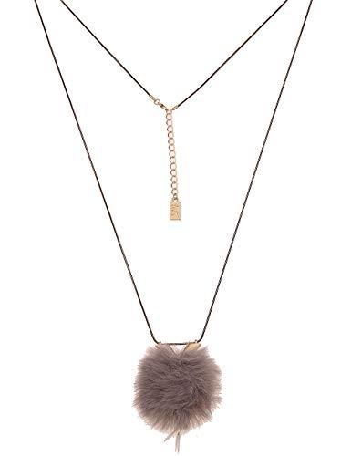 Leslii Damen-Kette Kunstfell-Bommel Fake-Fur Schlangen-Kette Lange Halskette graue Modeschmuck-Kette in Schwarz Gold Grau