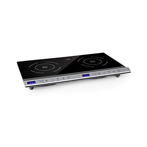 Klarstein Cucinata Cocina de inducción - 2 zonas de cocción, Rendimiento total de 3.100 W, 10 niveles...