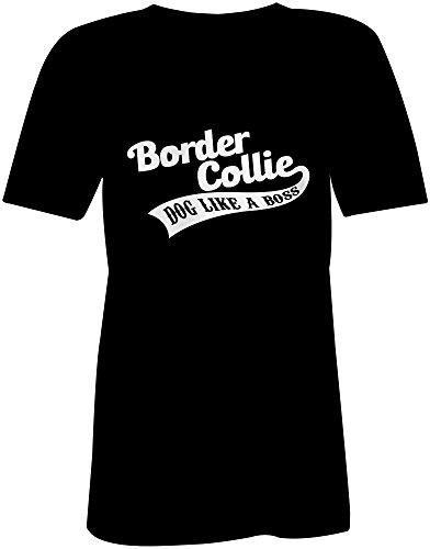 Border Collie Dog Like A Boss ★ V-Neck T-Shirt Frauen-Damen ★ hochwertig bedruckt mit lustigem Spruch ★ Die perfekte Geschenk-Idee (01) schwarz