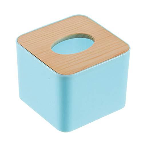 Vommpe Taschentuchbox-Halter aus Holz, quadratisch, 11 x 11 x 8,5 cm blau Blau 11