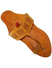 M&N - Men's Kolhapuri Leather Sandal/Chappal/Footwear- Export Striped Gondewali Ethnic Fashion