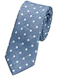 Necktie - Sky blue linen with white polka dots Notch 9ixWPU6T