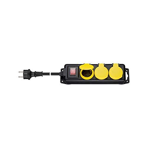 Goobay 45193 Steckdosenleiste IP44 spritzwassergeschützt 3 m - 3-Fach Schutzkontaktbuchse mit Schutzkappen, für den Außenbereich geeignet -