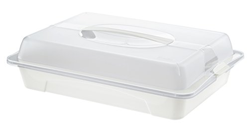 Rotho 1760590000 Partybutler Partycontainer Cool und Fresh aus Kunststoff, ideal zum Transportieren und Kühlen von Lebensmitteln, mit Tragegriff und Kühlkissen, 43,5 x 29,5 x 11 cm, transparent/weiss