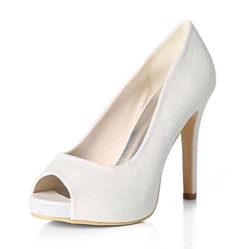 ZM-Shoes Damen Braut Hochzeit Peep Toe High Heels Slip on Plateau Pumps Glitzernden Silber Brautkleid Brautschuhe,White,36