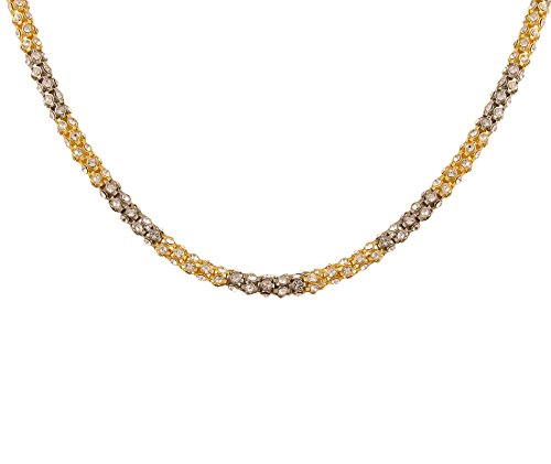 "Kairos Two Tone Gold & Rhodium Plated Diamond Mala Necklace 18"" for Women -(NL-05)"