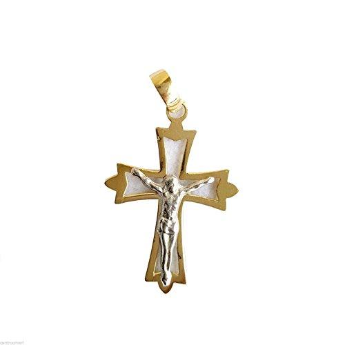 Anhänger Kreuz-Kruzifix in gold gelb und weiß 18ct-750/0002,2cm x 1,7cm