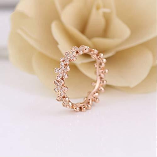 YOYOYAYA Ring 925 Sterling Silber Schmuck Flower Daisy Synthetischer Diamant Classic Exquisite Datum Simple Mädchen Geburtstag Gedenken Geschenk Hochzeit Romance Fantasy